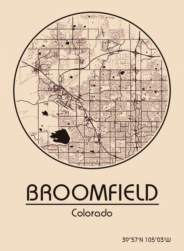 Karte / Map ~ Broomfield, Colorado - Vereinigte Staaten von ...