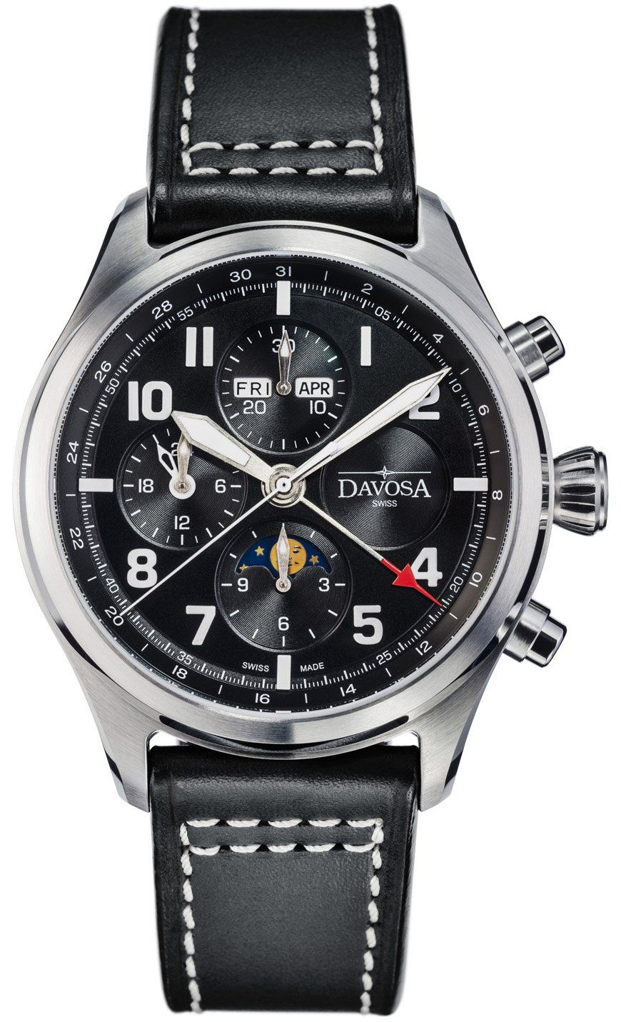 Davosa watch newton pilot moonphase chrongraph limited