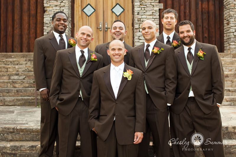 brown tuxedos for weddings | Casey & Will\'s Alabama Wedding – Grant ...
