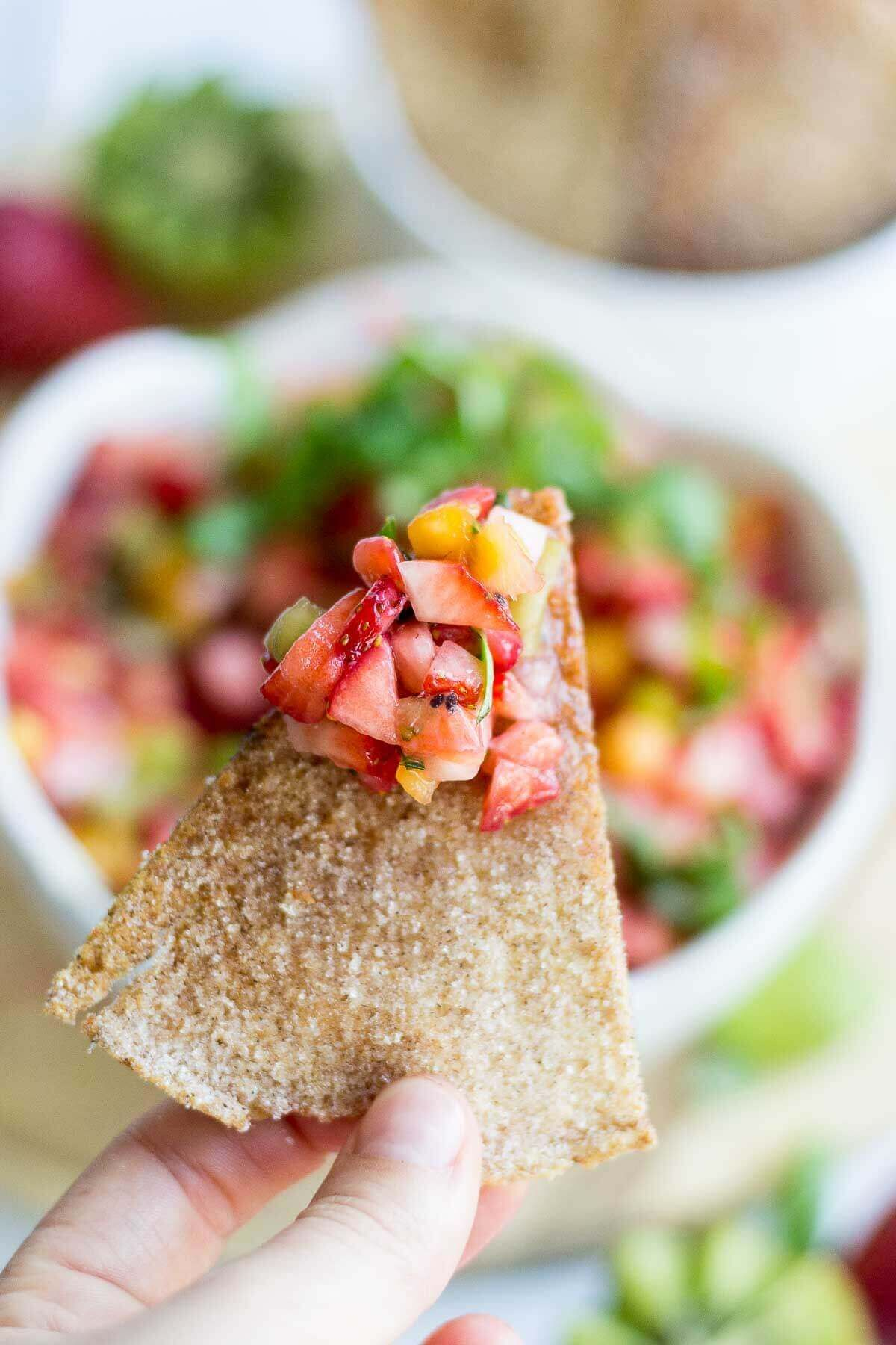 Healthy Fruit Salsa and Baked Pita Chips Recipe Fruit