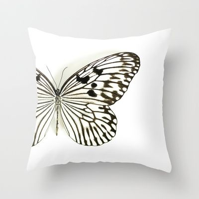 Black+&+White+Butterfly+On+White...+Throw+Pillow+by+Machel+Spence+-+$20.00