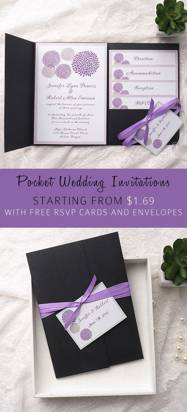 Cheap purple dandelion black pocket wedding invitation kits ewpi