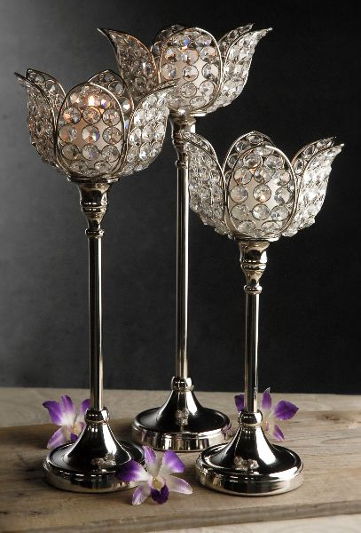 Set Of 12 Vintage glasscrystal Candlestick Holdersfree shipping