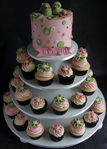 Baby Block Cupcake | Baby Shower Cupcake Tower, Flower Cupcake Stand