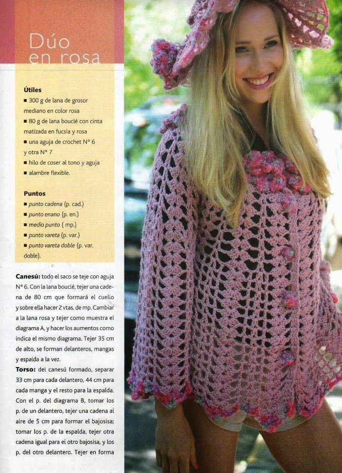 Chaqueta Calada Malva Patron - Patrones Crochet | Blouses, crochet ...
