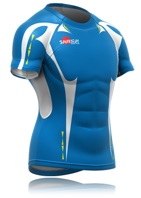 Sky Blue And White Rugby Shirt Design Shown In Compeion Fit Shape Deisgn Your Own
