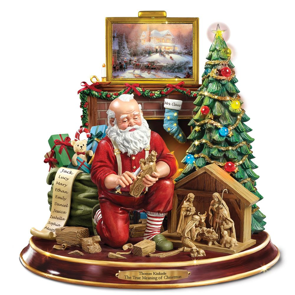 The Thomas Kinkade Woodcarving Santa - Hammacher Schlemmer | Things ...