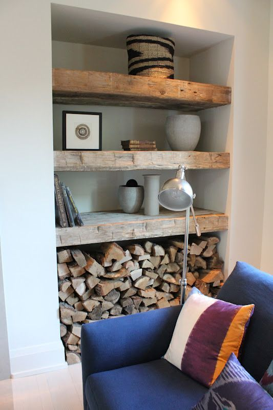 reclaimed wood shelves next to fireplace Google Search Moy