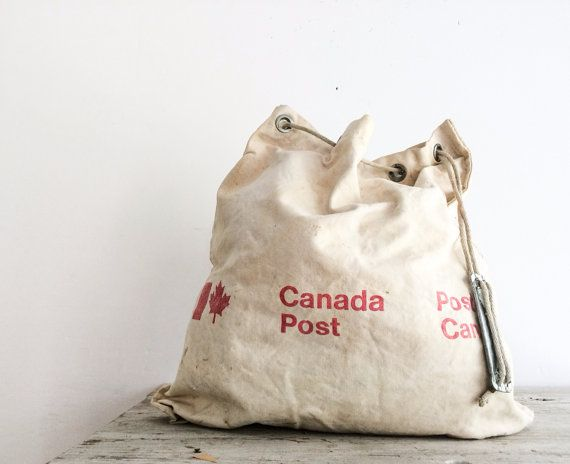 Vintage Natural Canvas Canada Post Mail Bag by pippamarxstudio ...