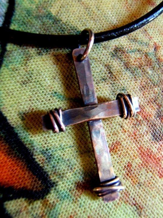 Joshua S Cross Sterling Silver Hammered Christian Cross