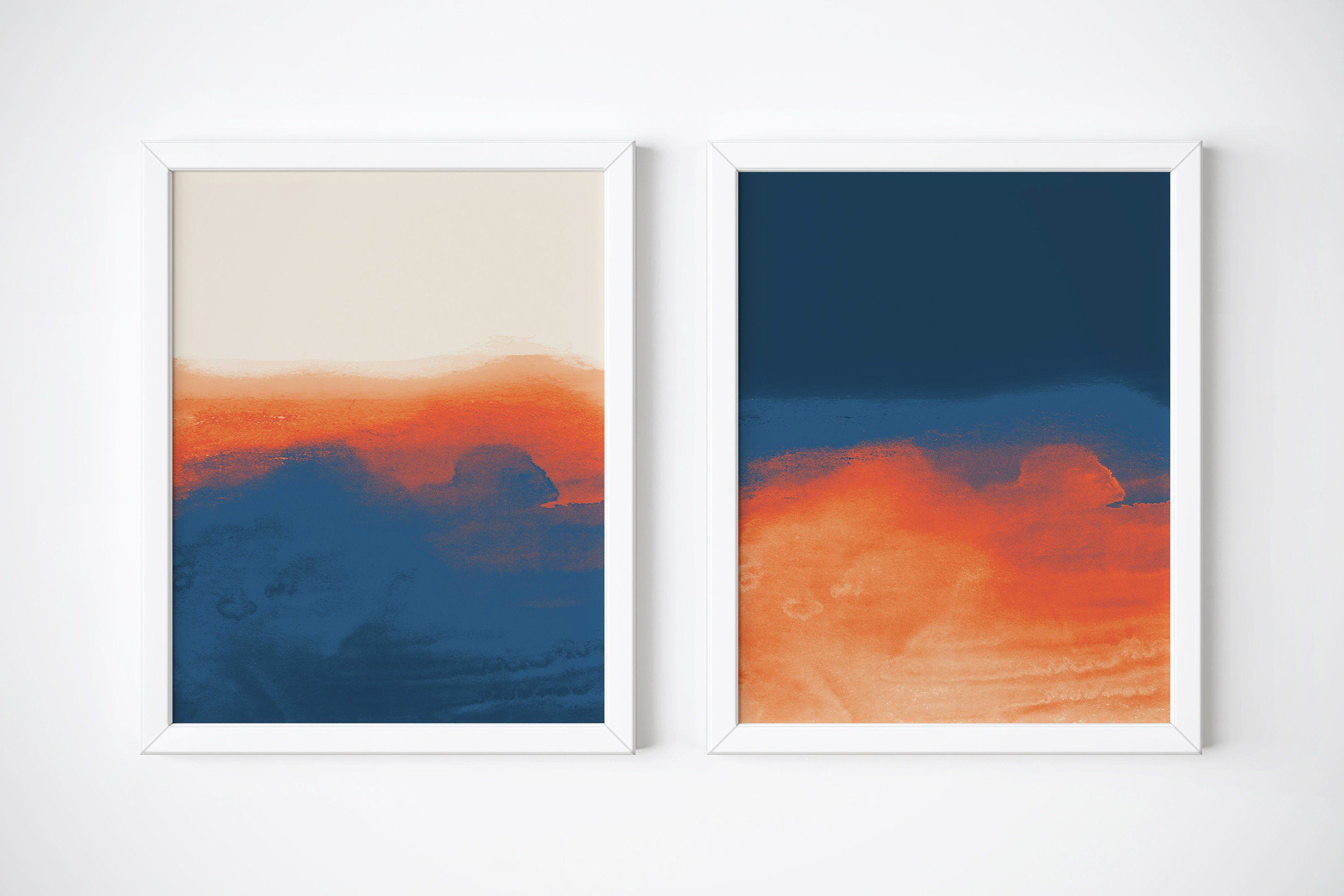Set Of 2 Abstract Prints Dark Blue And Orange Abstract Art Etsy Blue Abstract Painting Abstract Modern Art Abstract