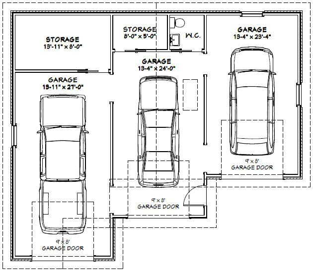 Three Car Garage Plan Google Search Garage Pinterest