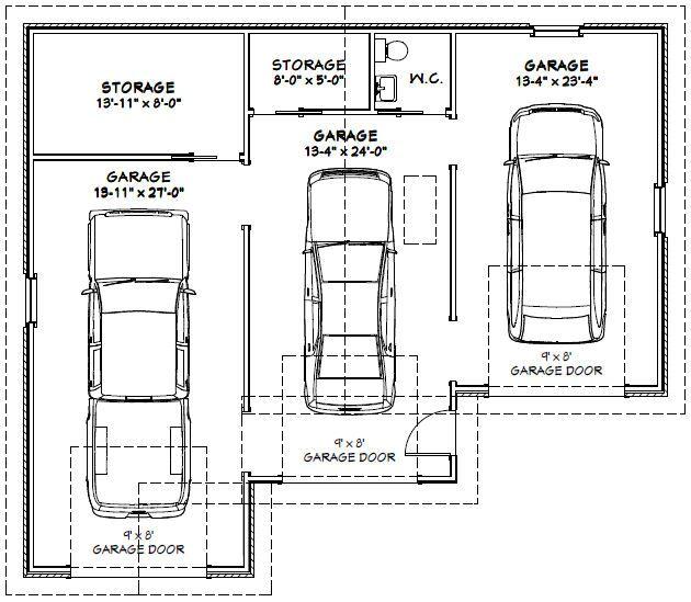 Three car garage plan google search garage pinterest for 3 stall garage dimensions
