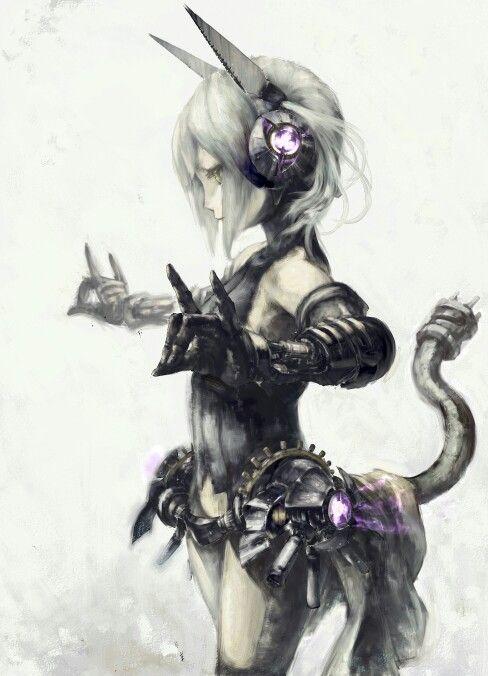Robot Neko Girl Cyberpunk Anime Cyberpunk Girl Neko Girl