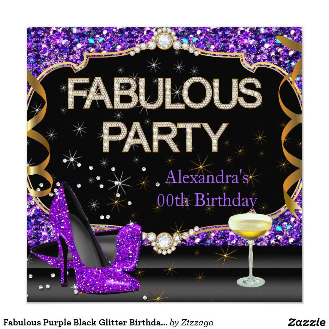 Fabulous purple black glitter birthday party invitation