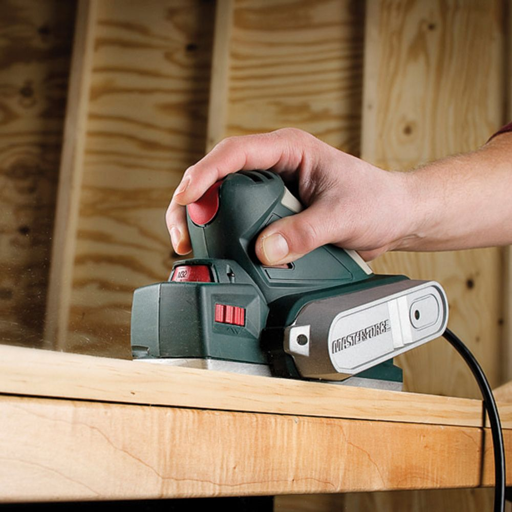 Provide Plenty Of Power With The Masterforce 2 3 8 Compact Planer This Tough Tool Features Reversible Woodworking Planer Woodworking Power Tool Accessories