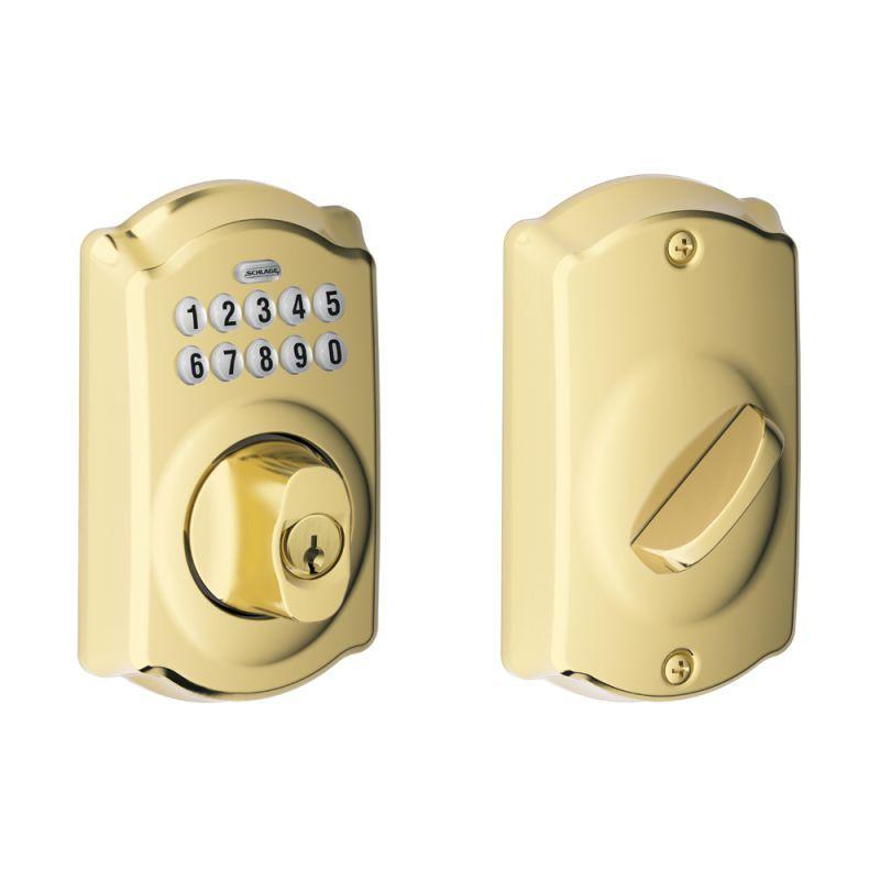 Schlage Be365 Cam Keypad Deadbolt Electronic Deadbolt Brass