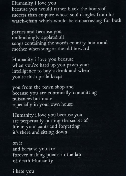 Humanity I Love You Edward Estlin Cummings Poem Poetry