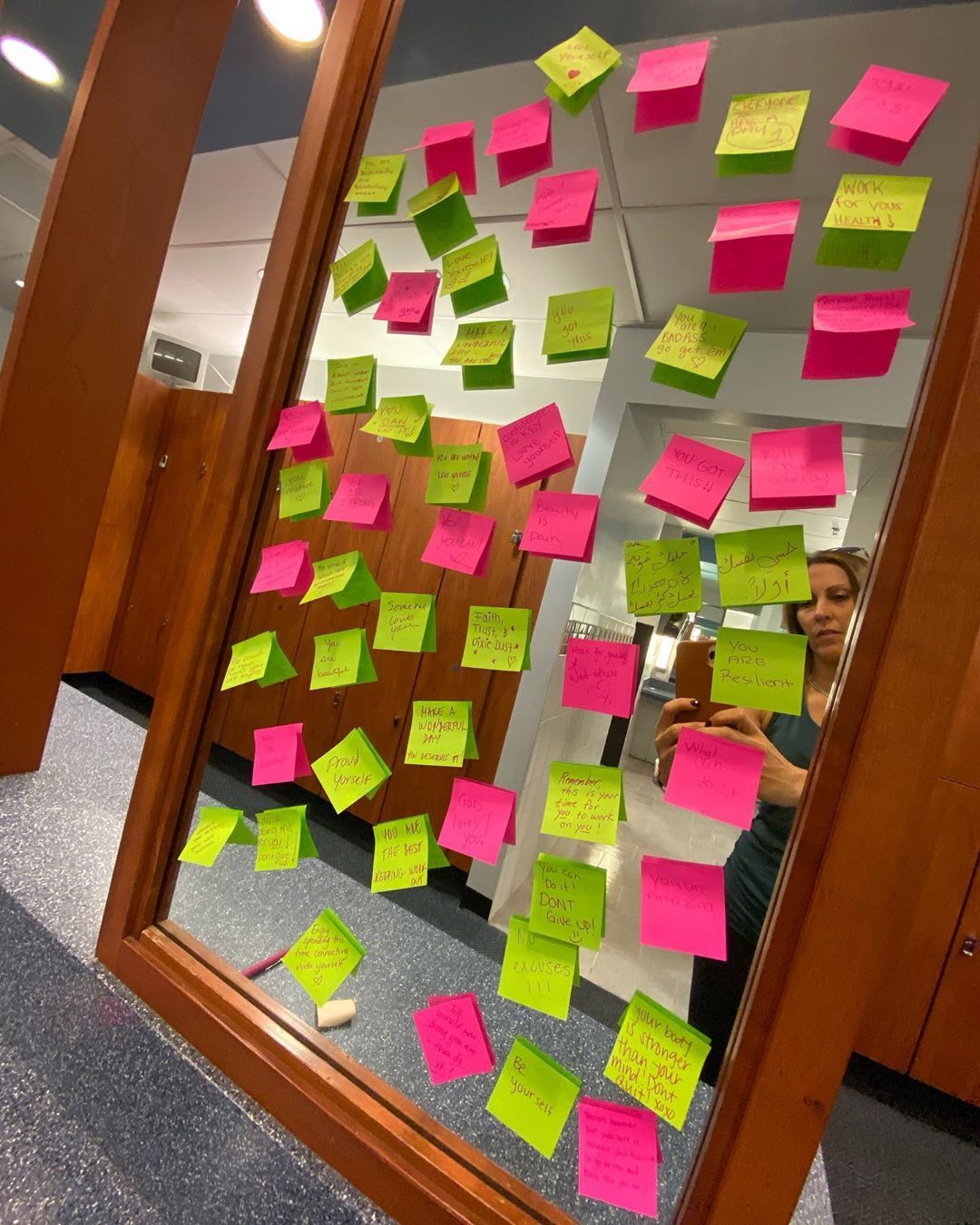 What you find in the ladies locker room on this Monday... a mirror full of encouragement! So much lo...