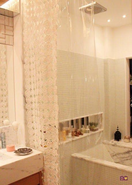 Cortina de crochê para banheiro