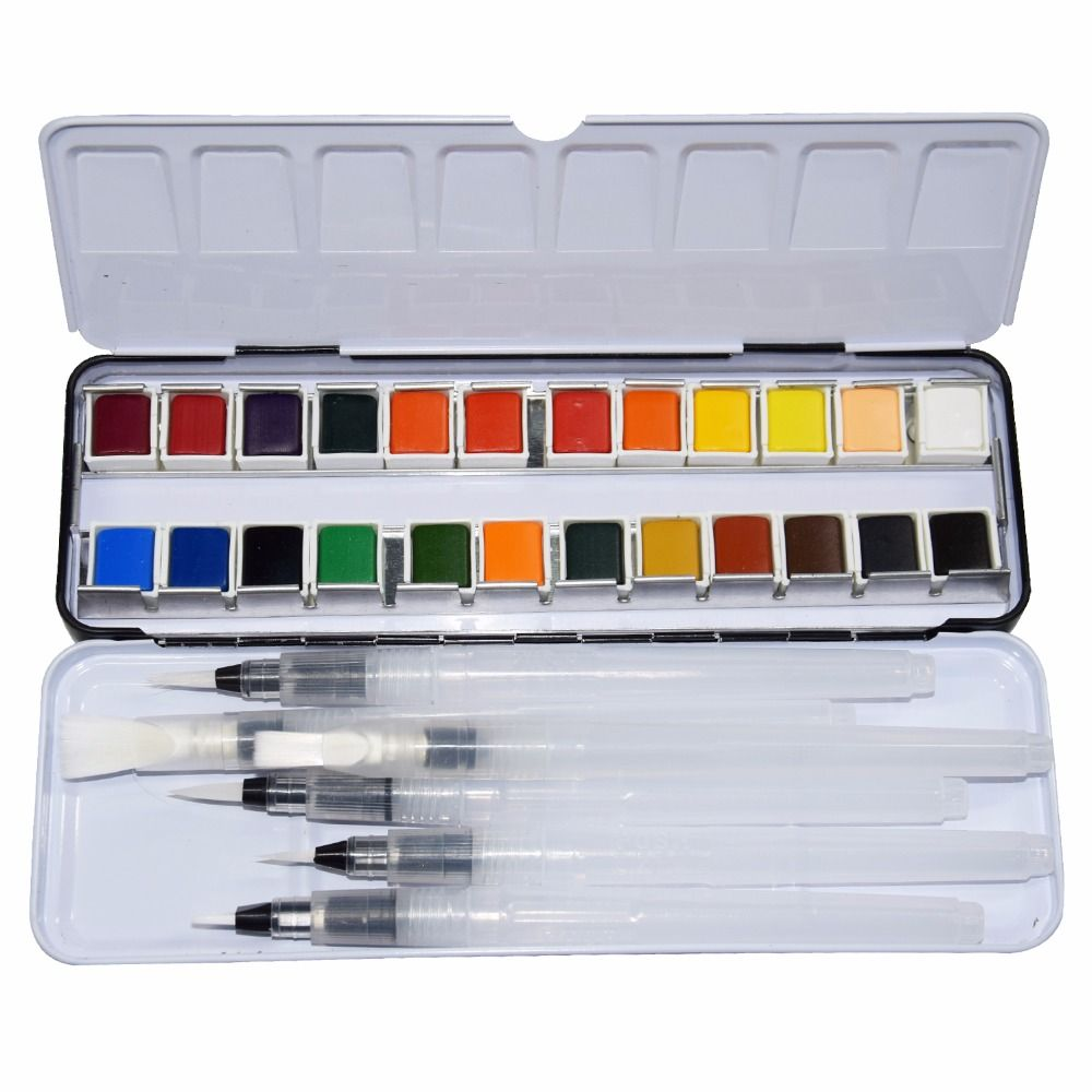 24 Colors Pigment Solid Watercolor Tin Box Paints Set With 6pcs