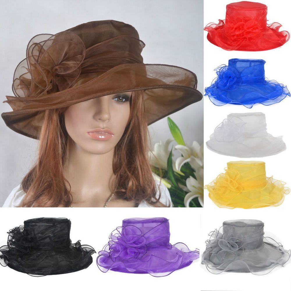 913901776d3 Women Lady Kentucky Derby Church Bridal Wedding Organza Hat Wide Brim Hat  SM-II  Fanny  ChurchDress