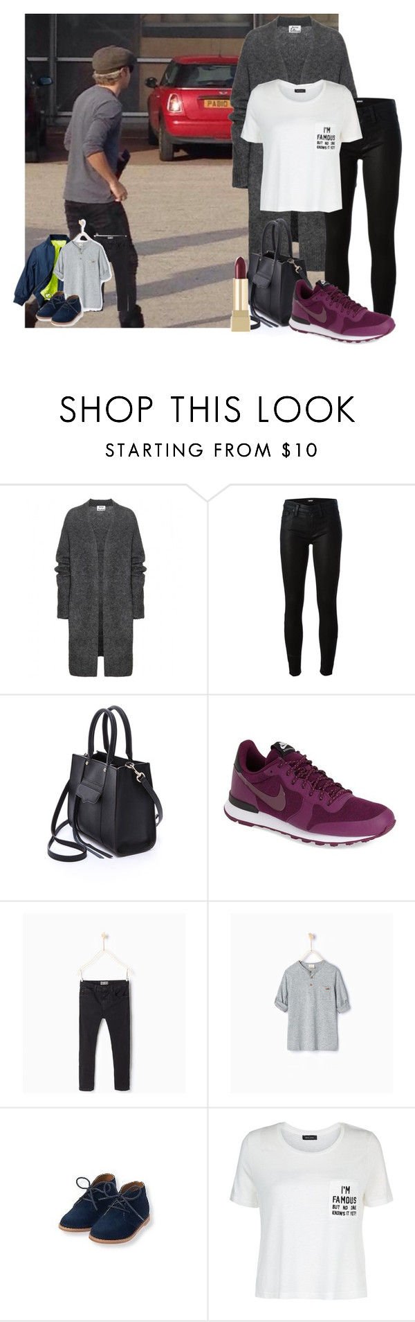 """""""Arriving in O2 w/ Niall and our baby James"""" by nouisxsmiles ❤ liked on Polyvore featuring Acne Studios, Hudson, Rebecca Minkoff, H&M, NIKE, Zara and Yves Saint Laurent"""