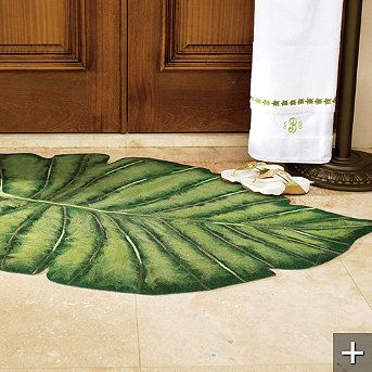 Palm Frond Indoor Outdoor Rug Tropical Bathroom Indoor Outdoor Rugs Tropical Rugs