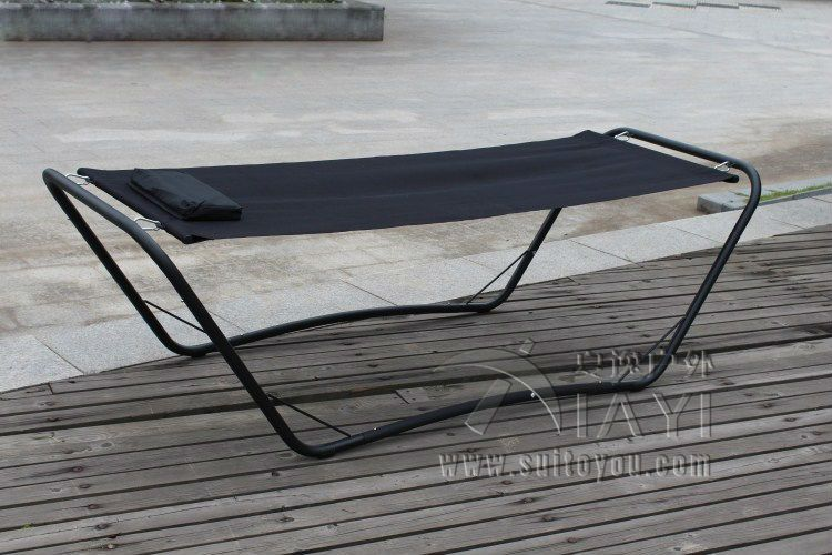 Durable Steel Iron One Person Leisure Outdoor Swing Bed Garden Sleeping  Hammock Daybed