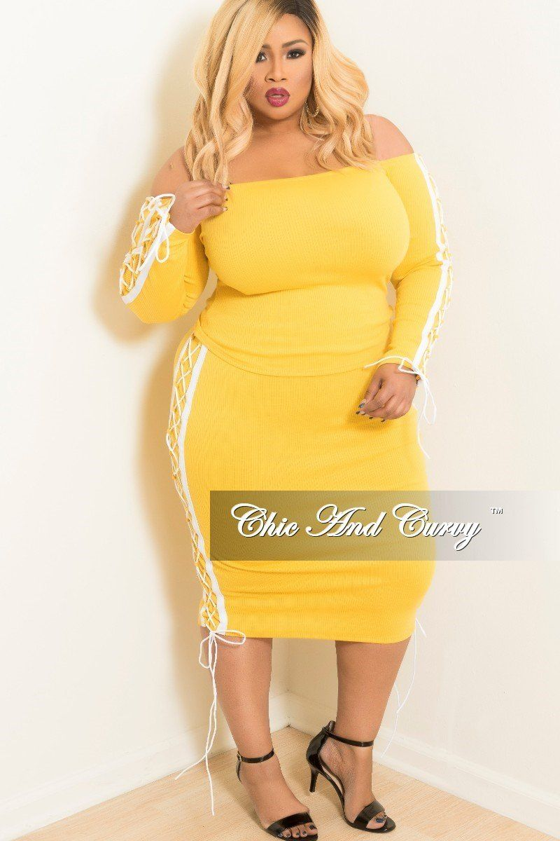 1fbe3bf3aa0 Plus Size Off the Shoulder Lace Up 2 Piece Top and Skirt Set – Chic And  Curvy