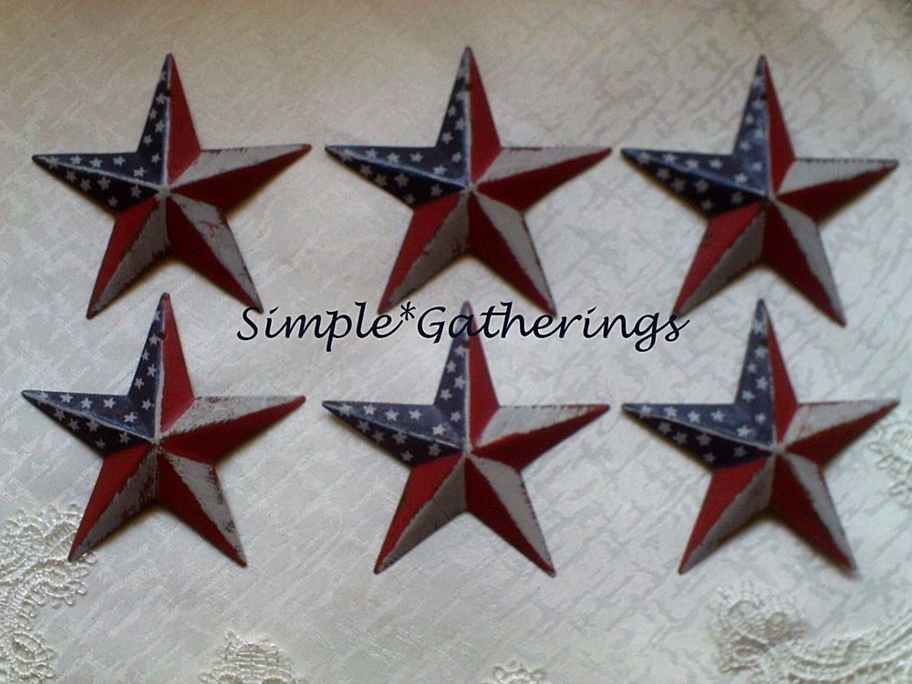 "Tin Metal Americana 8/"" Black Country Barn Star"