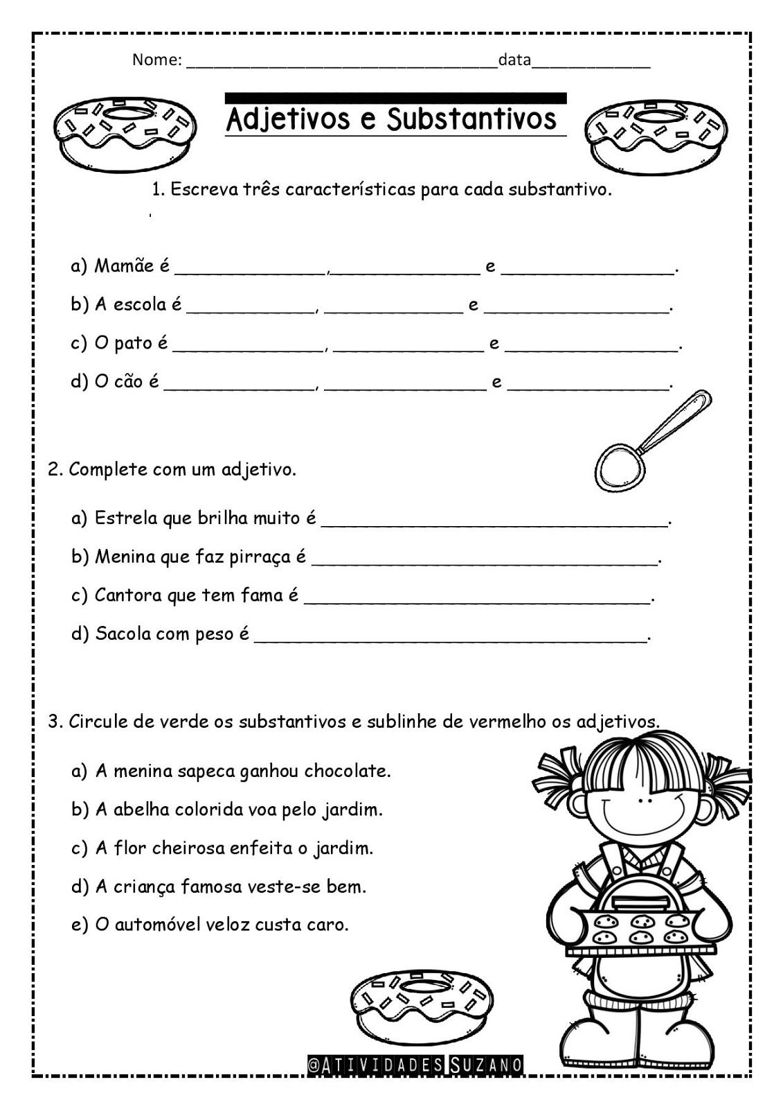 Pin De Vi Araujo Da Silva Em Atividades 4 Atividades Adjetivos