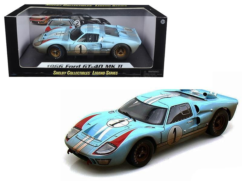Ford Gt  Gulf Blue Dirty Version Cast Car Model By Shelby Collectibles