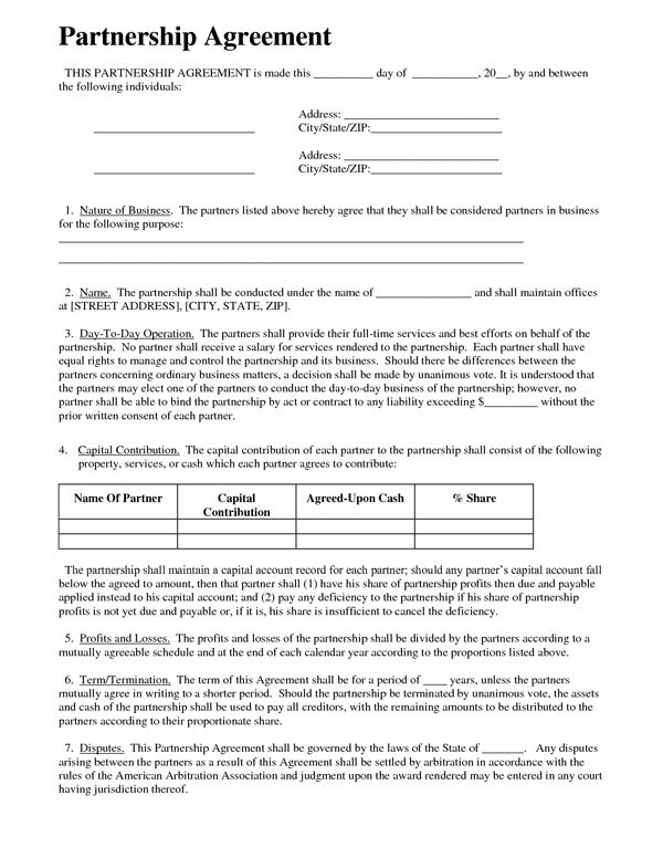 Printable Sample Partnership Agreement Sample Form Real Estate - construction contract forms