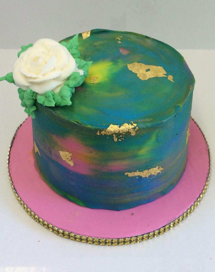 Watercolor Buttercream Cake.
