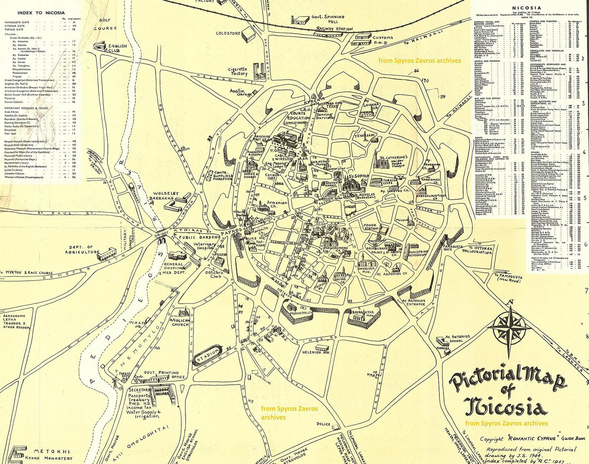 Pictorial Map of Nicosia 1940s From Spyros Zavros archives
