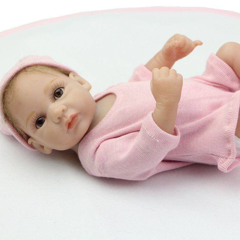 Mohair Rooted 10 Inch Tiny Reborn Baby Doll Girl Realistic Full Silicone Baby Doll Reborn Baby Dolls Silicone Baby Dolls Reborn Babies