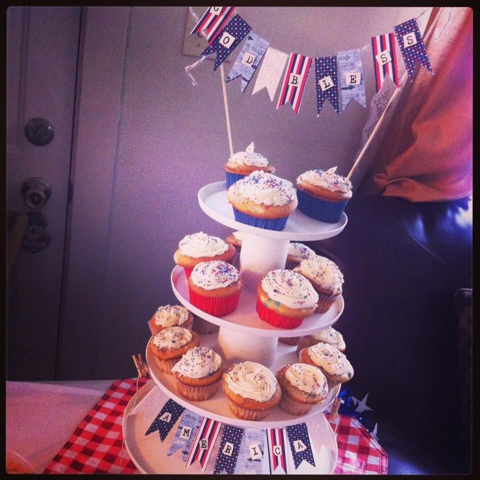 God Bless America cupcake stand.