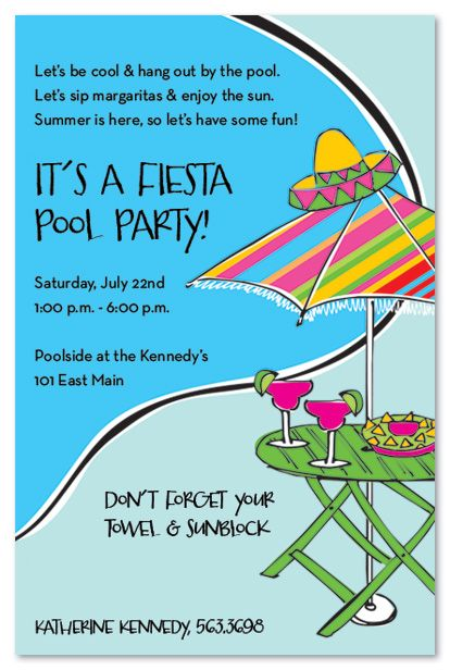 Pool Party Ideas  Fiesta Poolside Birthday Party Invitations