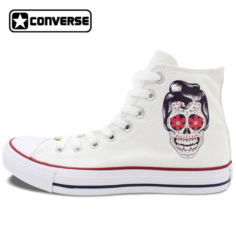 59cd14af99c0bf Men Women Converse Chuck Taylor White Canvas Shoes Femal Male Mexican Skull  Tattoo High Top Sneakers