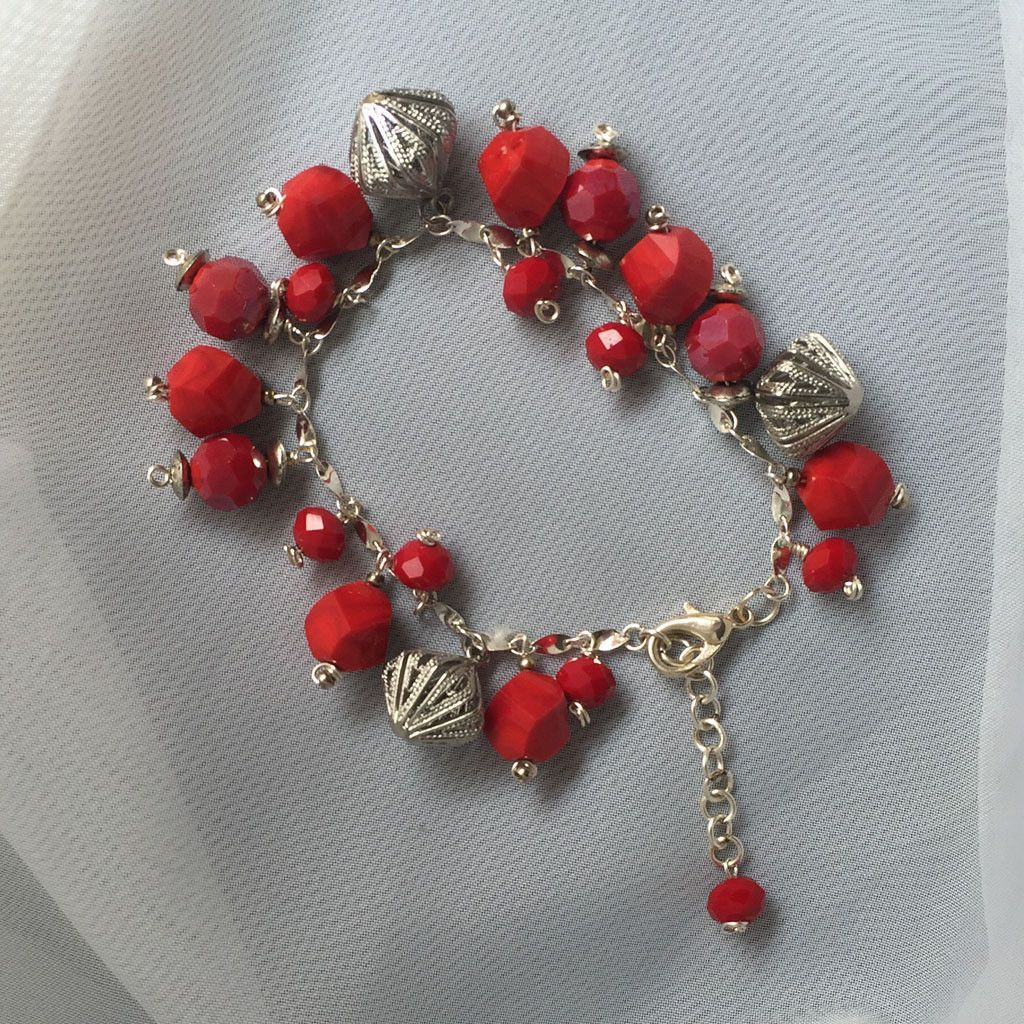Flamingo Series - Irregular Shape Red Beads and Charms Hooked on Sterling Silver Chain