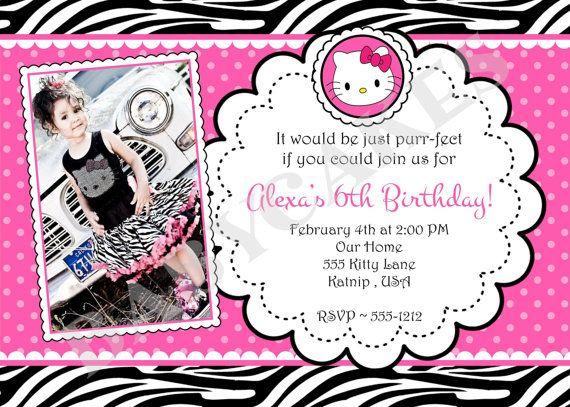 Hello Kitty Birthday Invitation Zebra print DIY by jcbabycakes