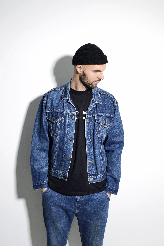 80s Mens Denim Jacket In Dark Blue Wash Old School 70s Short Etsy Denim Jacket Denim Jacket Men Online Shopping Clothes [ 3000 x 2000 Pixel ]