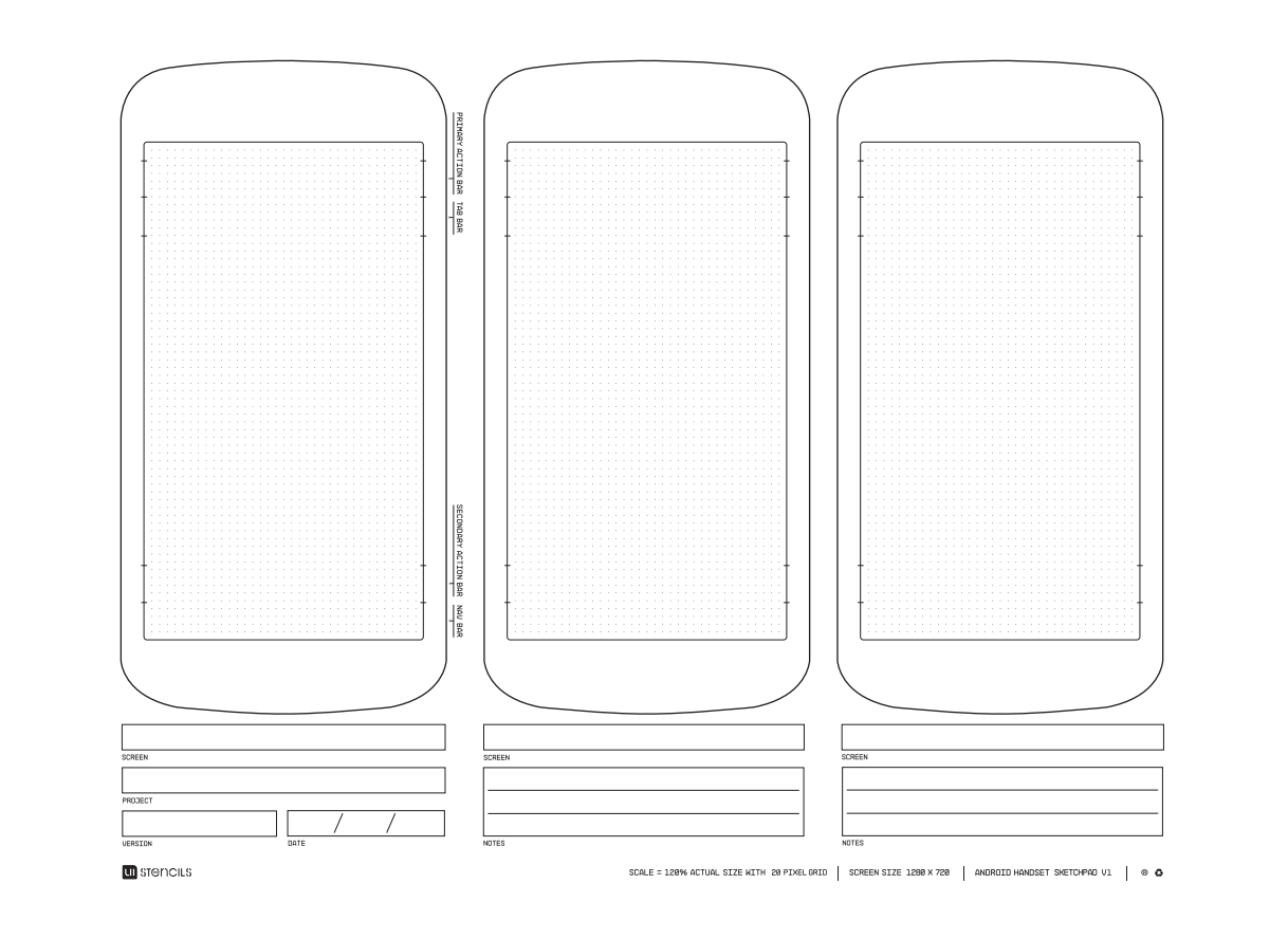 Free Downloadable Android Phone Wireframing Template - A4 Size