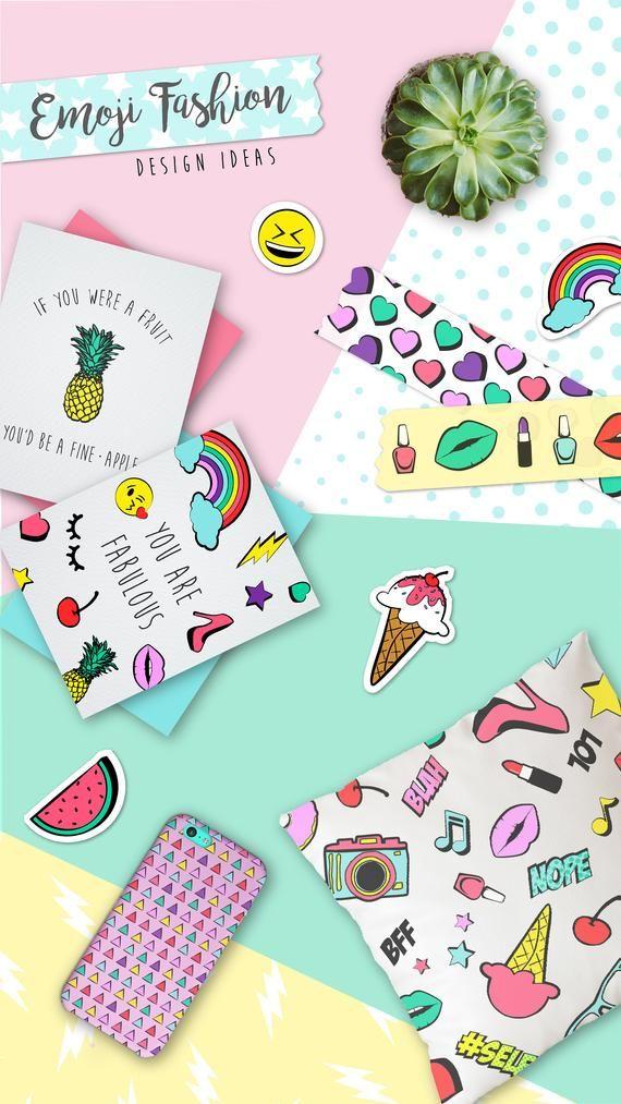 Emoji Clipart Digital Scrapbook Paper Pack Set Of 7 In 2019