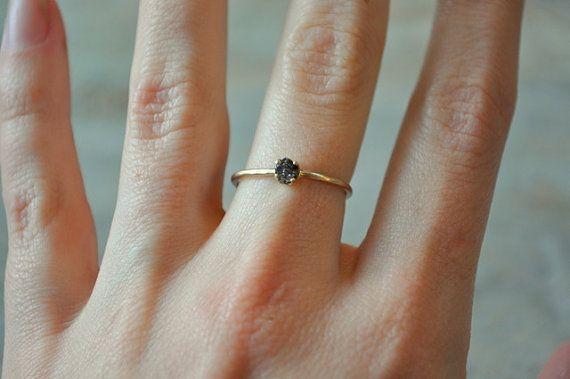 Rough black diamond ring