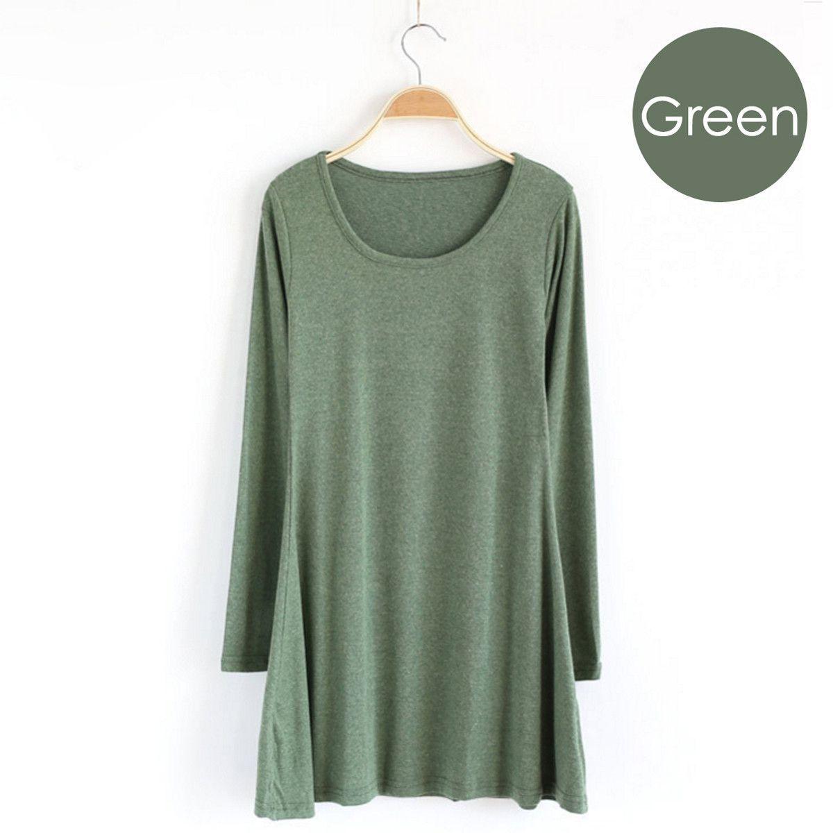 f5b2f41ebafc0 Cute   Comfy ~ Green long-sleeve jersey knit dress. Soft cotton knit casual  easy-to-wear mini dress,