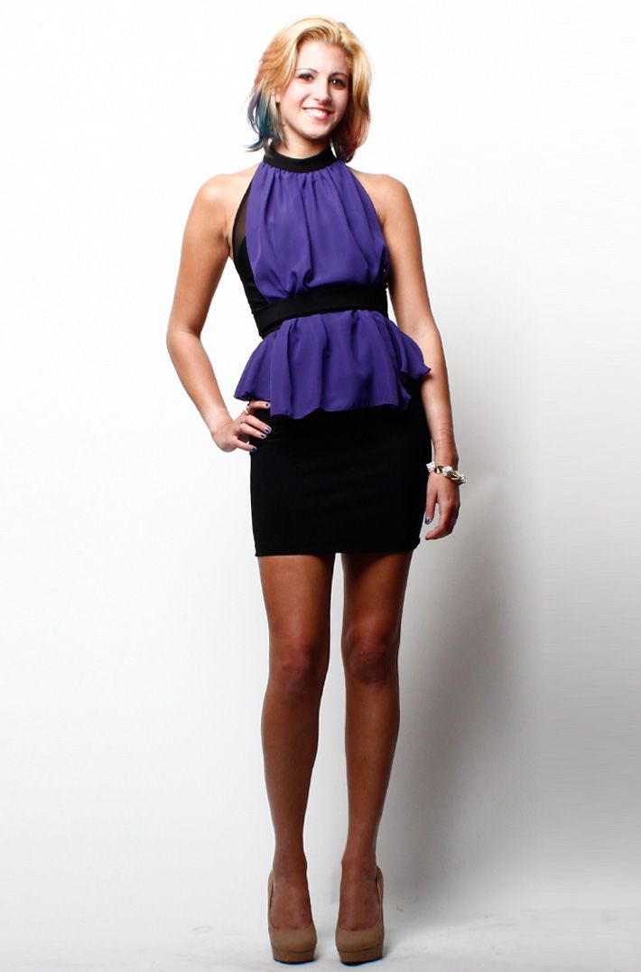 Dress to impress on your next girls' night out in this sexy halter neck party dress with sheer belted front and peplum waist!