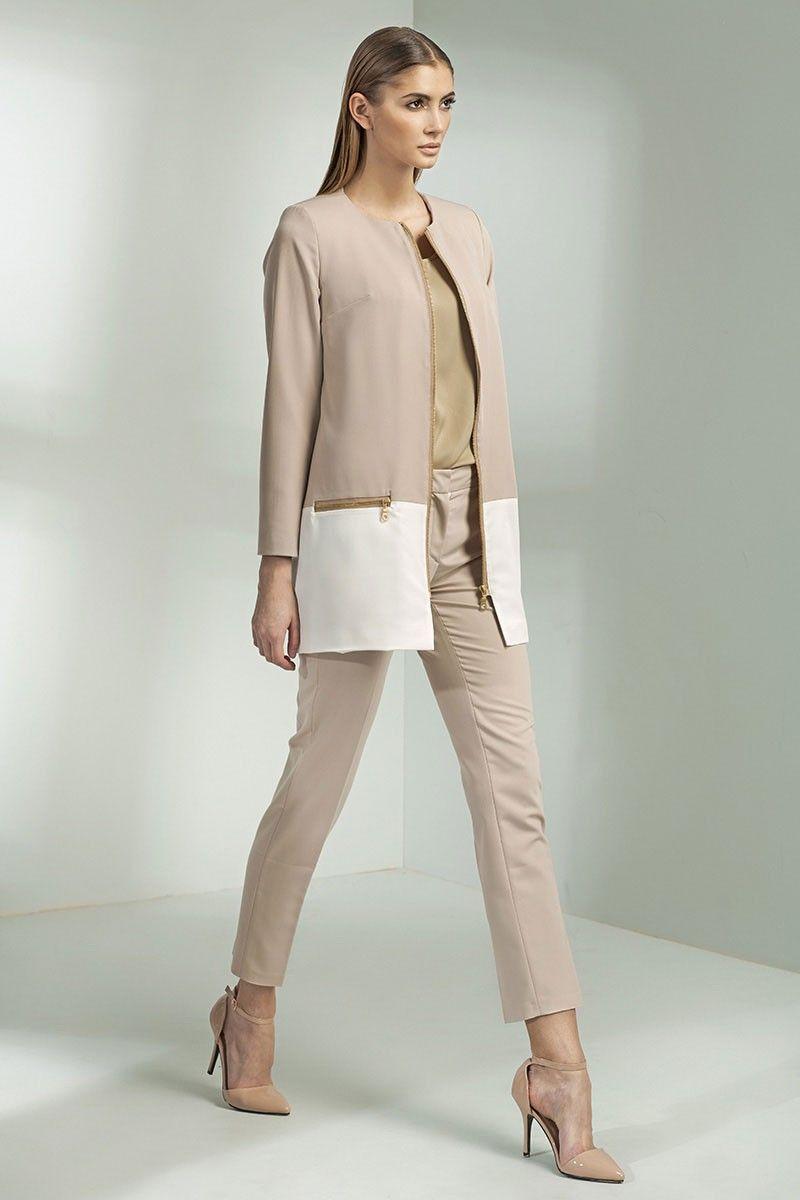 Veste longue, bicolore, beige et écru : féminine et très originale