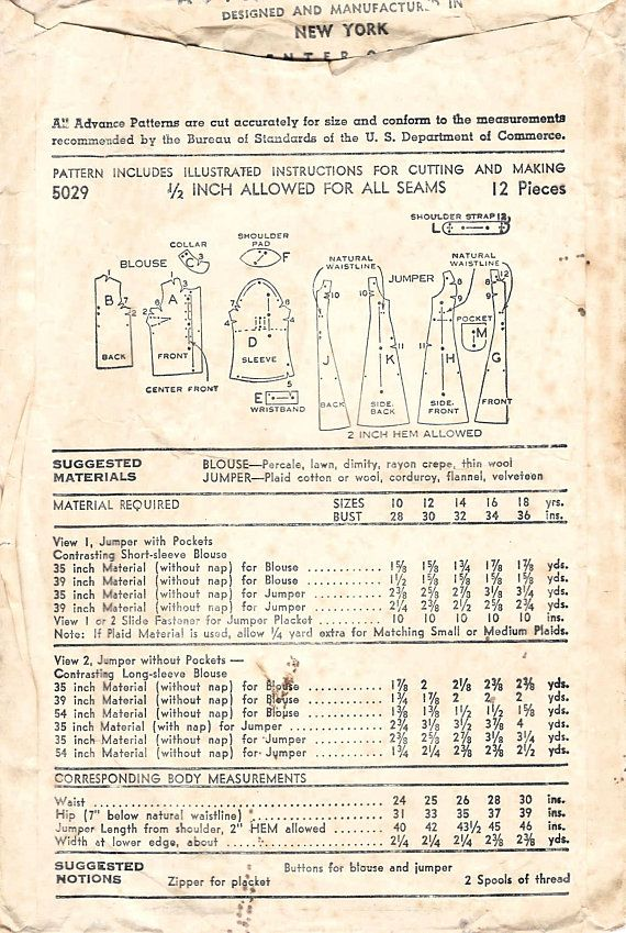 1940s Advance 5029 Vintage Sewing Pattern Teen Princess Jumper and Blouse  Size 16 Bust 34